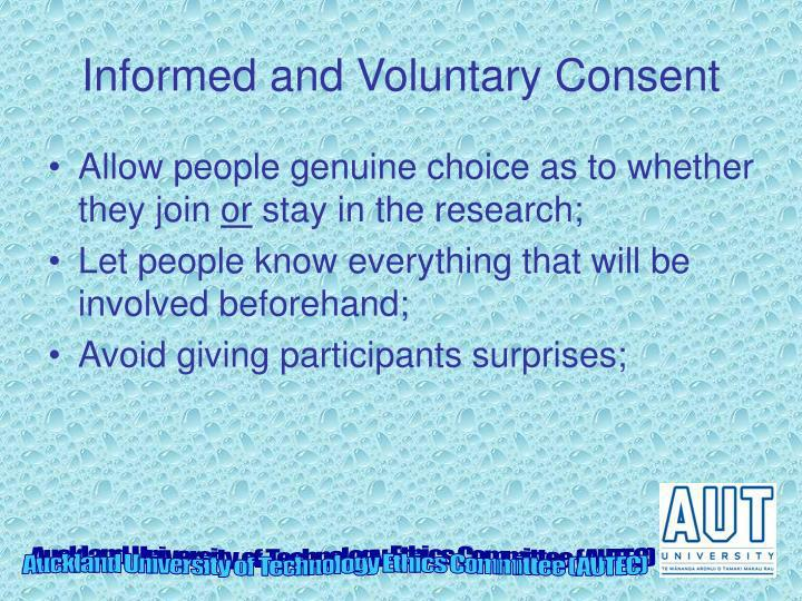 Informed and Voluntary Consent
