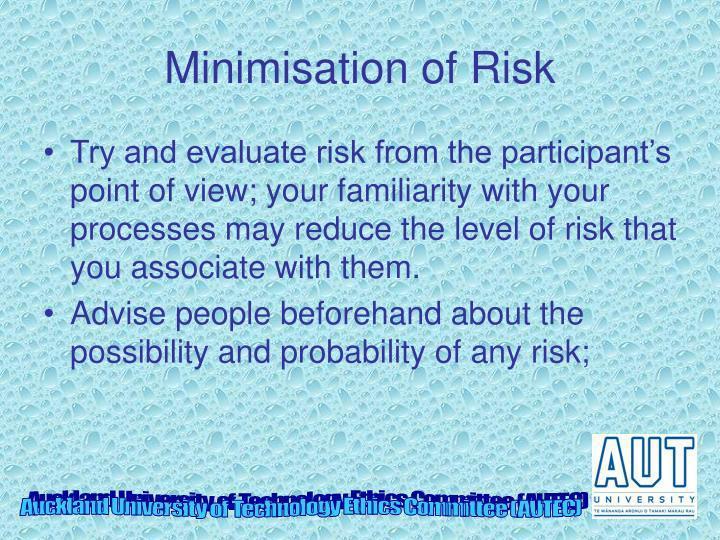 Minimisation of Risk