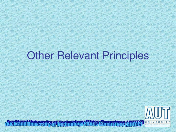 Other Relevant Principles