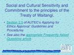 social and cultural sensitivity and commitment to the principles of the treaty of waitangi