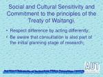 social and cultural sensitivity and commitment to the principles of the treaty of waitangi1