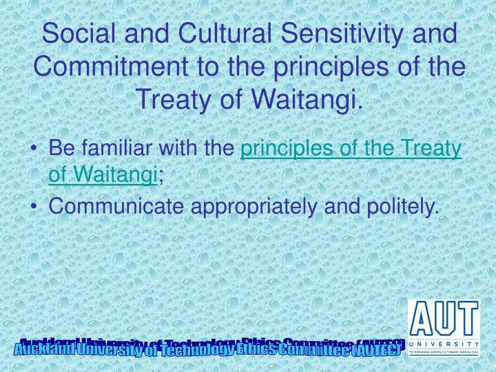 Social and Cultural Sensitivity and Commitment to the principles of the Treaty of Waitangi.