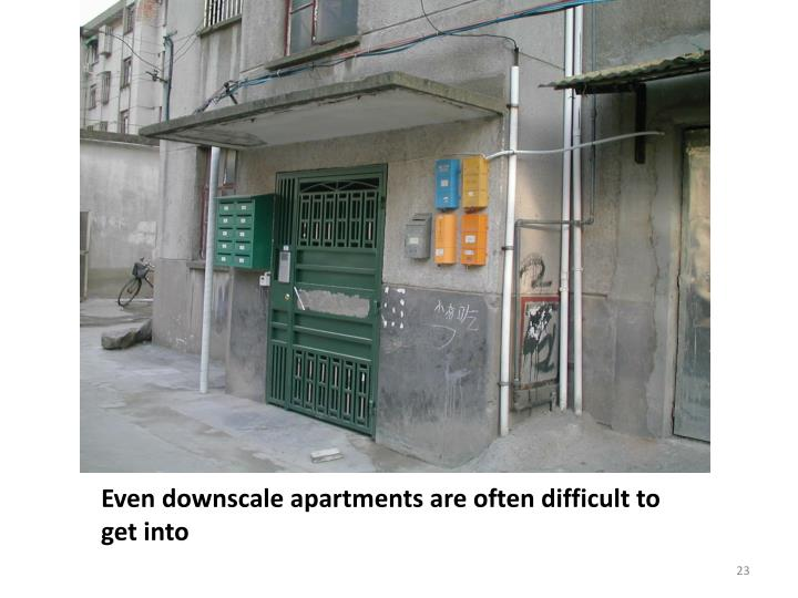 Even downscale apartments are often difficult to get into
