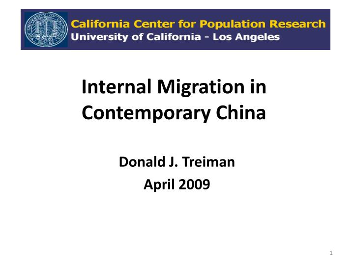 Internal migration in contemporary china