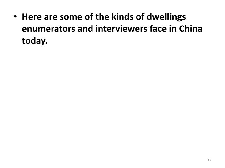 Here are some of the kinds of dwellings enumerators and interviewers face in China today.