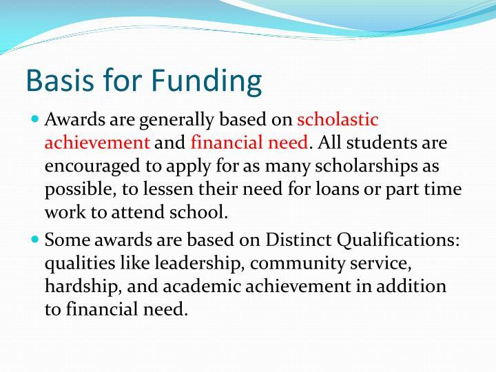 Basis for Funding