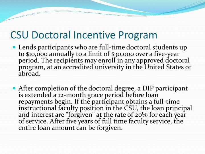 CSU Doctoral Incentive Program