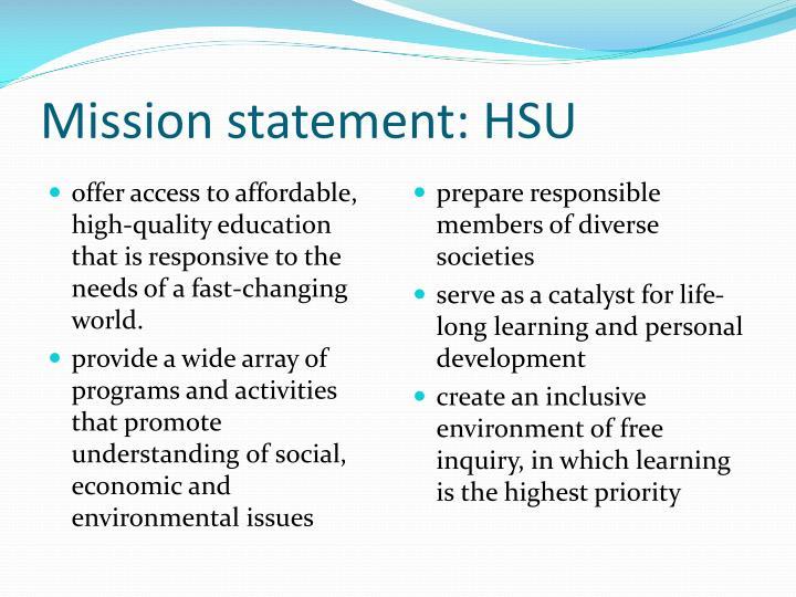 Mission statement: HSU