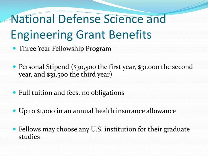 National Defense Science and Engineering Grant