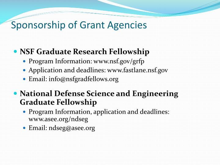 Sponsorship of Grant Agencies