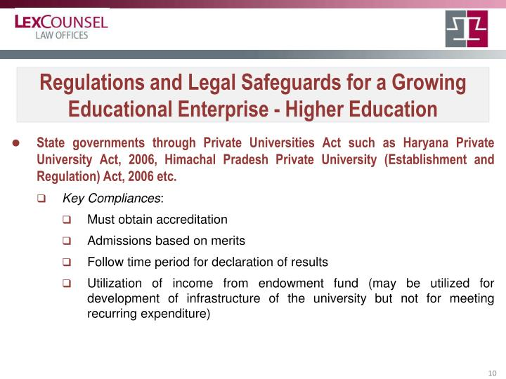 Regulations and Legal Safeguards for a Growing Educational Enterprise - Higher Education