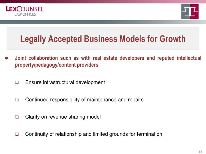 Legally Accepted Business Models for Growth