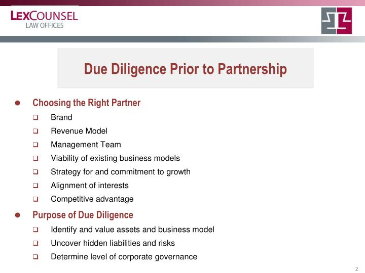 Due Diligence Prior to Partnership