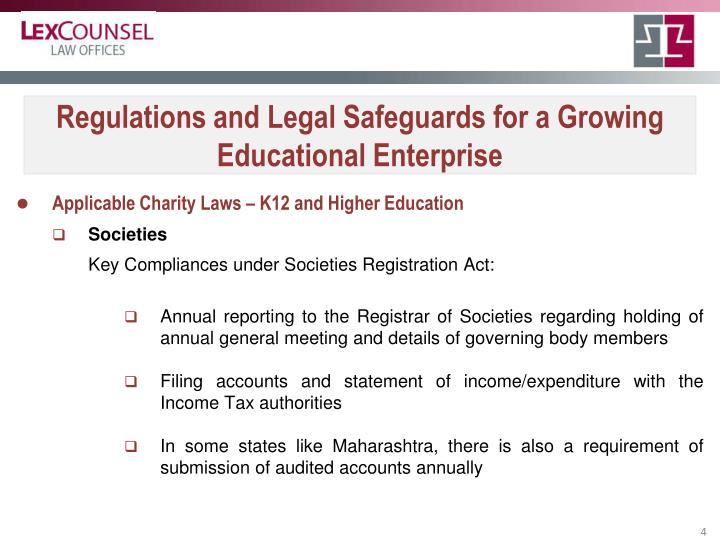 Regulations and Legal Safeguards for a Growing Educational Enterprise