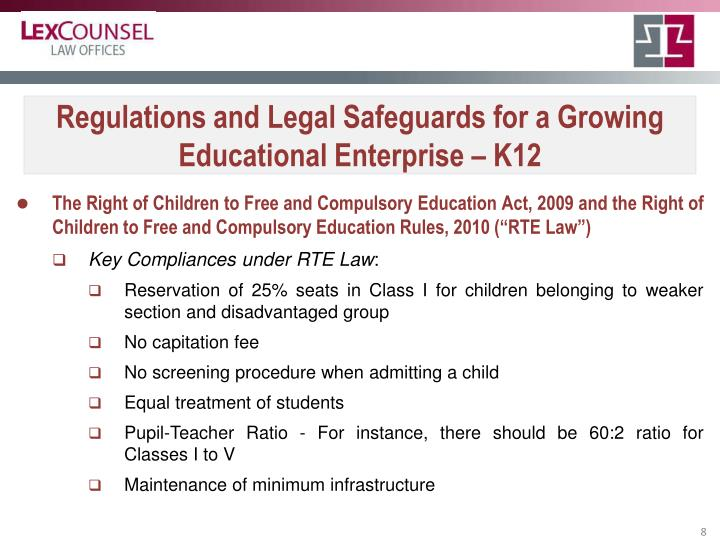 Regulations and Legal Safeguards for a Growing Educational Enterprise – K12