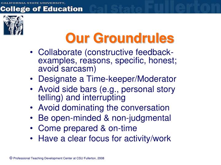 Our Groundrules