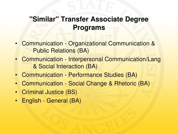 Similar transfer associate degree programs
