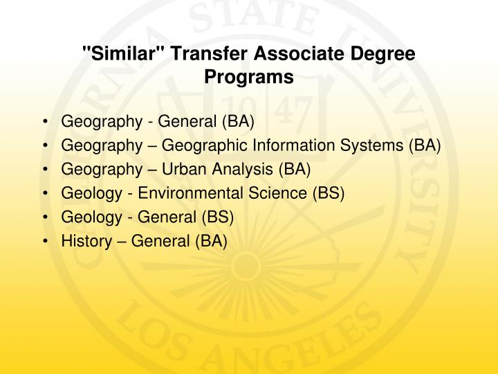 Similar transfer associate degree programs1