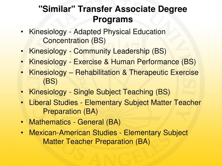 """Similar"" Transfer Associate Degree Programs"
