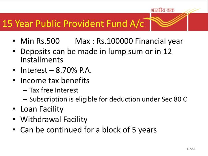 15 Year Public Provident Fund A/c