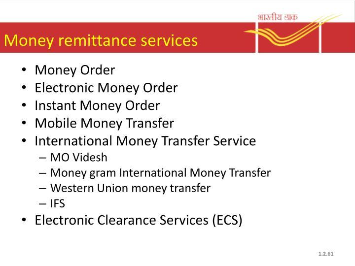 Money remittance services
