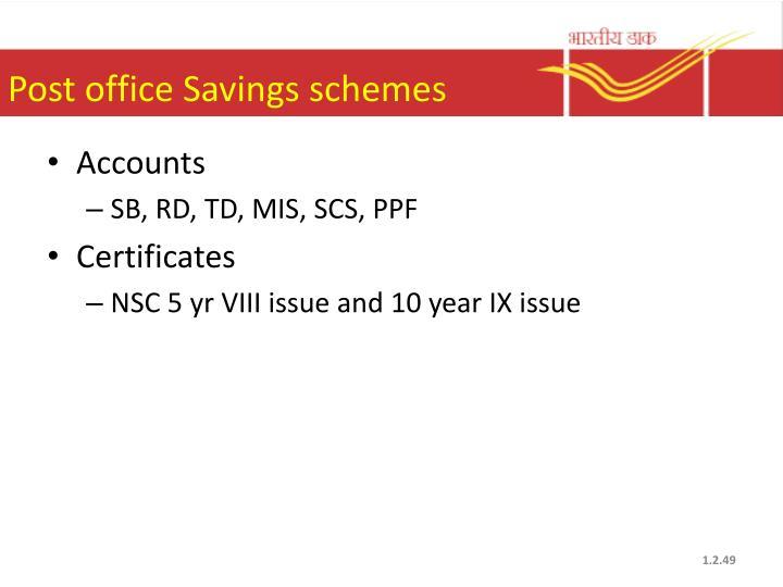Post office Savings schemes