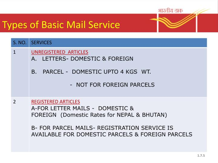 Types of Basic Mail Service