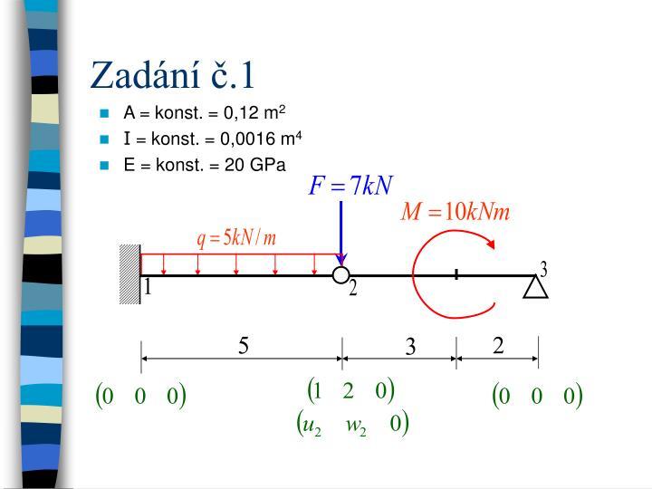 A = konst. = 0,12 m
