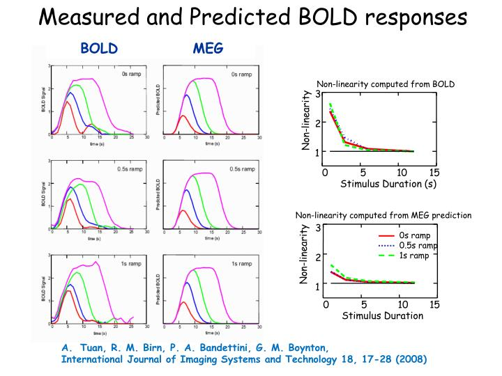 Measured and Predicted BOLD responses