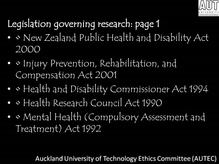Legislation governing research: page 1