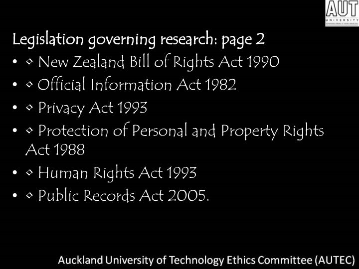 Legislation governing research: page 2