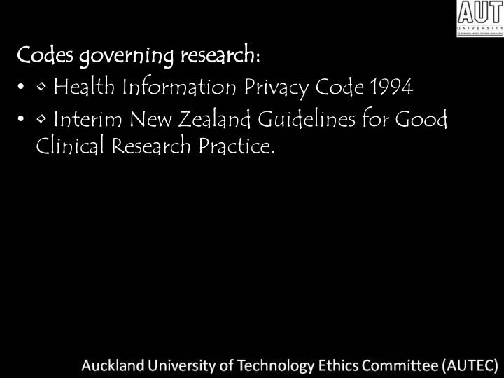 Codes governing research: