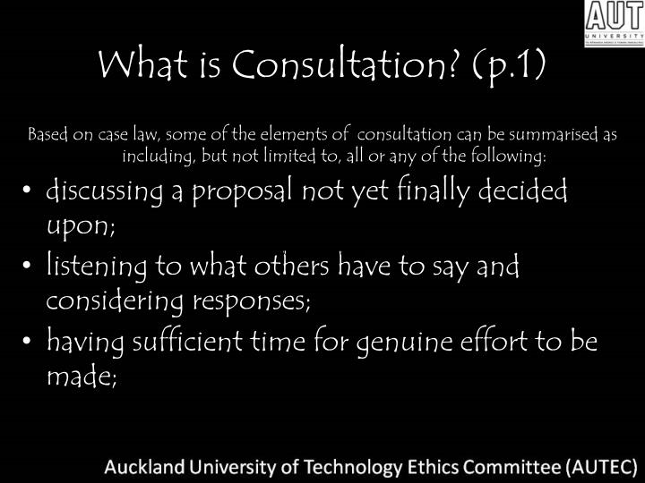 What is Consultation? (p.1)