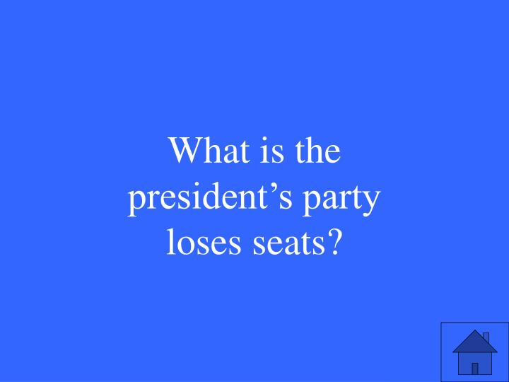 What is the president's party loses seats?