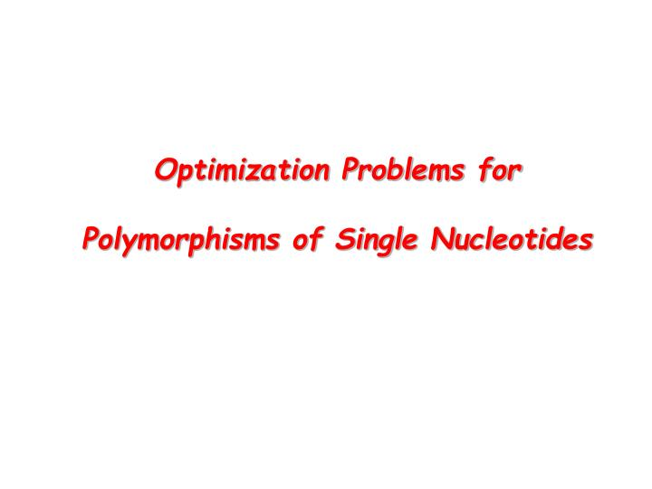 Optimization Problems for