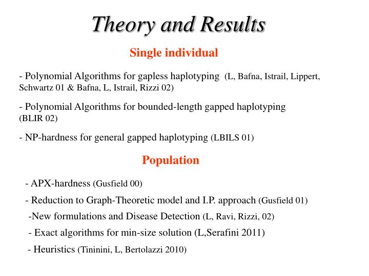 Theory and Results