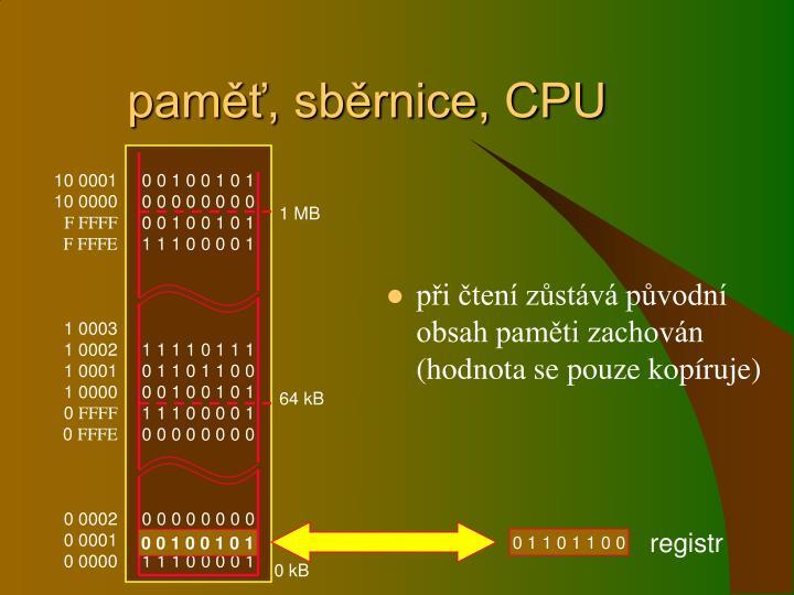 paměť, sběrnice, CPU