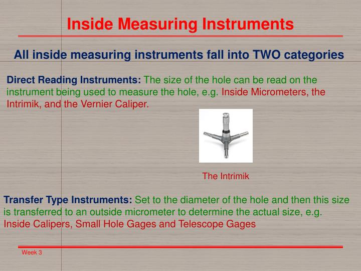 Inside Measuring Instruments