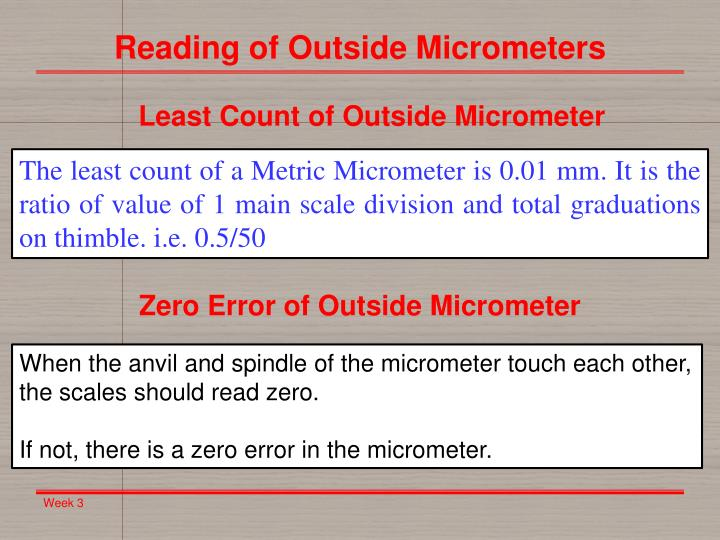 Reading of Outside Micrometers