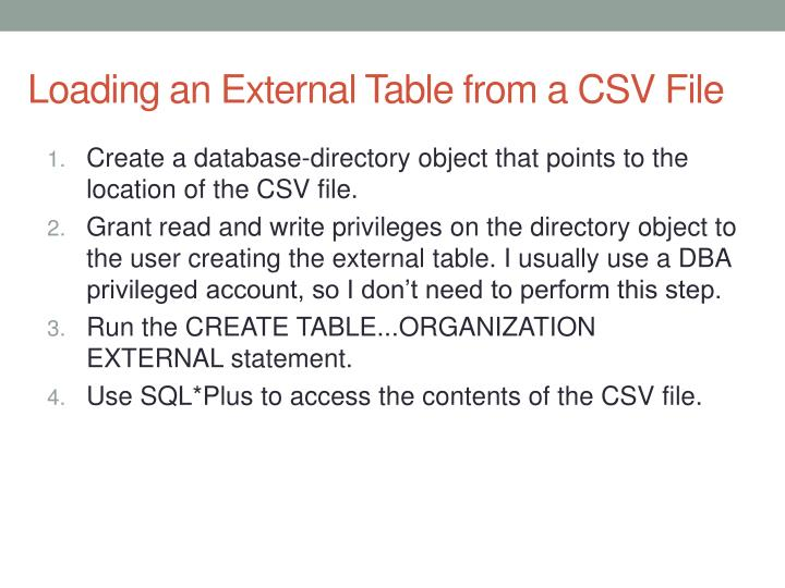 Loading an External Table from a CSV File