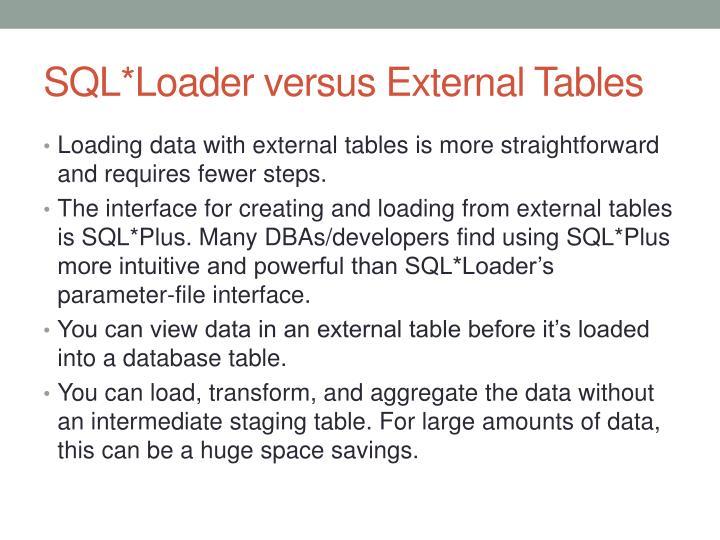SQL*Loader versus External Tables