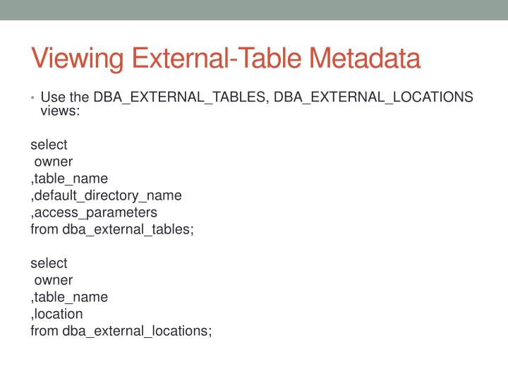 Viewing External-Table