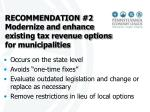 recommendation 2 modernize and enhance existing tax revenue options for municipalities