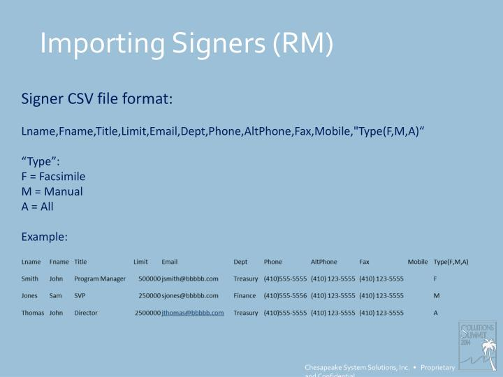 Importing Signers (RM)