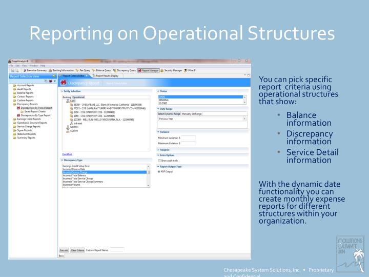 Reporting on Operational Structures