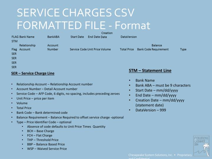 SERVICE CHARGES CSV FORMATTED FILE - Format