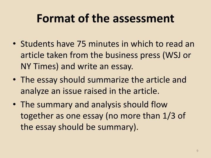 Format of the assessment