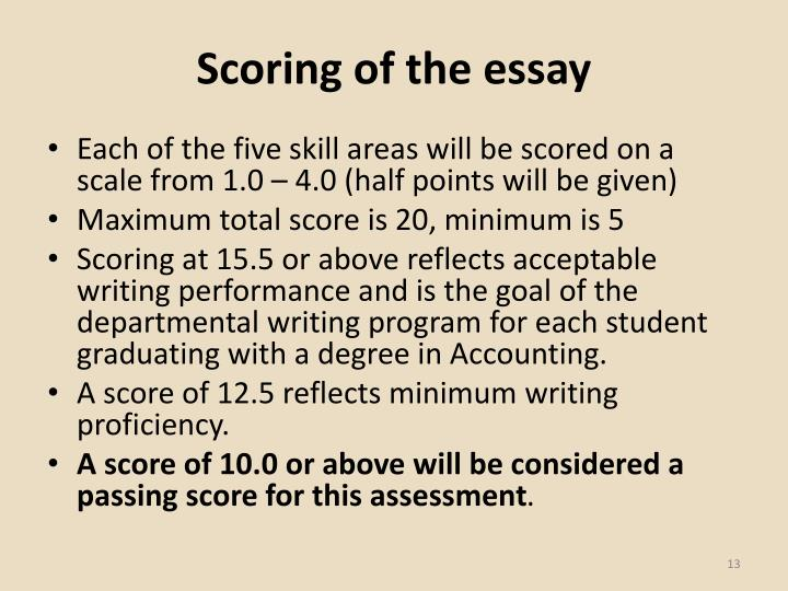 Scoring of the essay