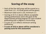 scoring of the essay