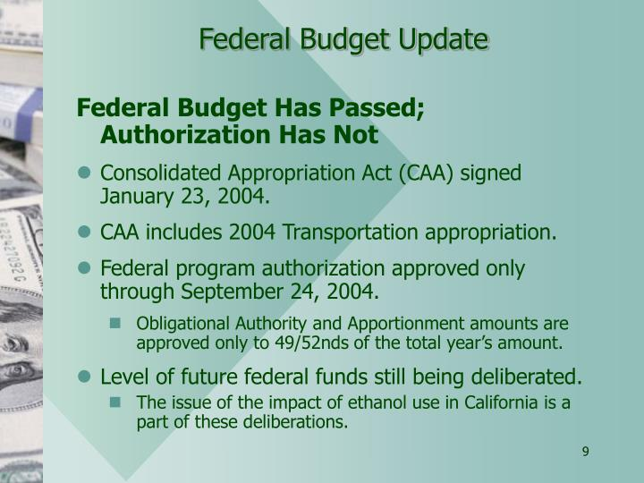 Federal Budget Update